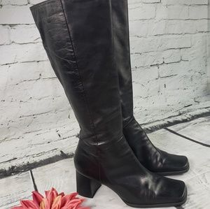 Tall Zarras black leather boots Nine West size 9